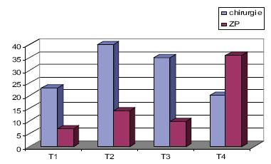Předléčebná velikost nádoru T v souboru PCH a ZP.