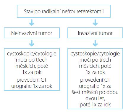 Souhrn doporučených postupů EAU pro follow-up uroteliálního karcinomu horních cest močových po iniciální léčbě (27) Fig. 2. EAU guidelines on follow-up UUTUC after initial treatment (27)