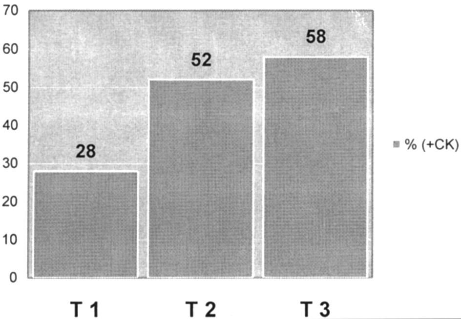 Vzťah metastatickej lymfadenopatie k T-štádiu ochorenia Graph 1. Relationship between the metastatic lymphadenopathy rates and the disease T- stages