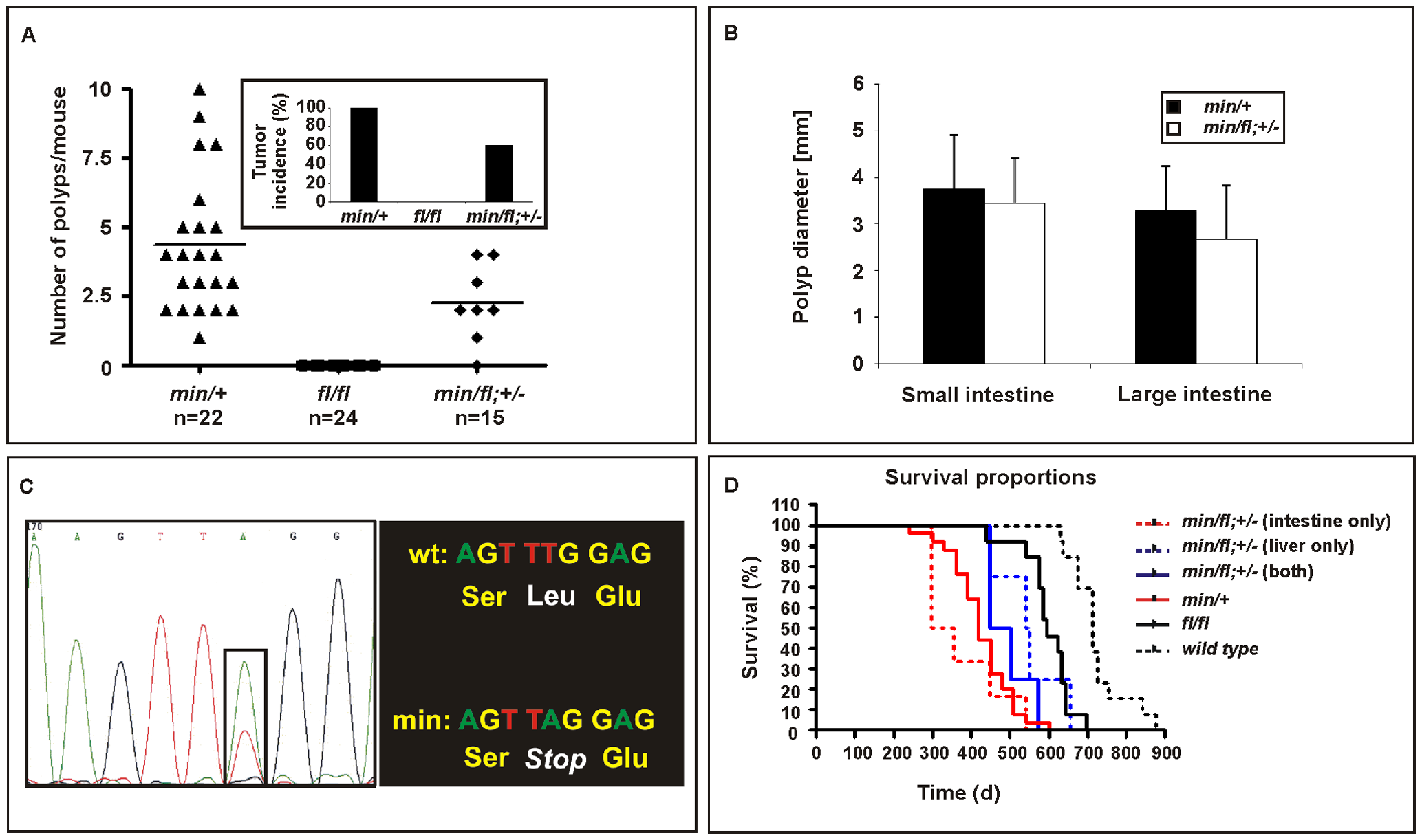 Intestinal tumor burden and impaired survival in <i>Apc</i> compound mutant mice.
