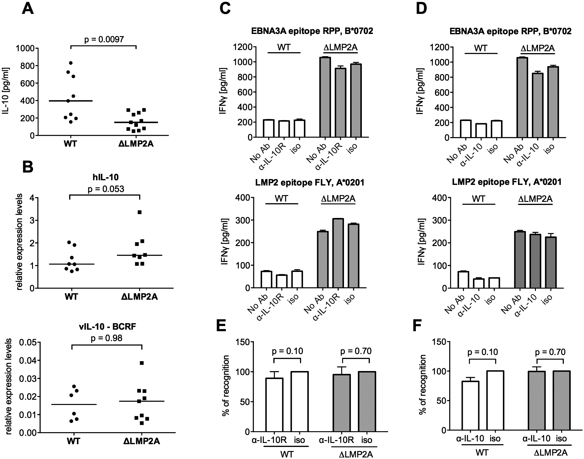 Role of LCL-secreted IL-10 in CD8+ T cell recognition of WT and ΔLMP2A LCLs.
