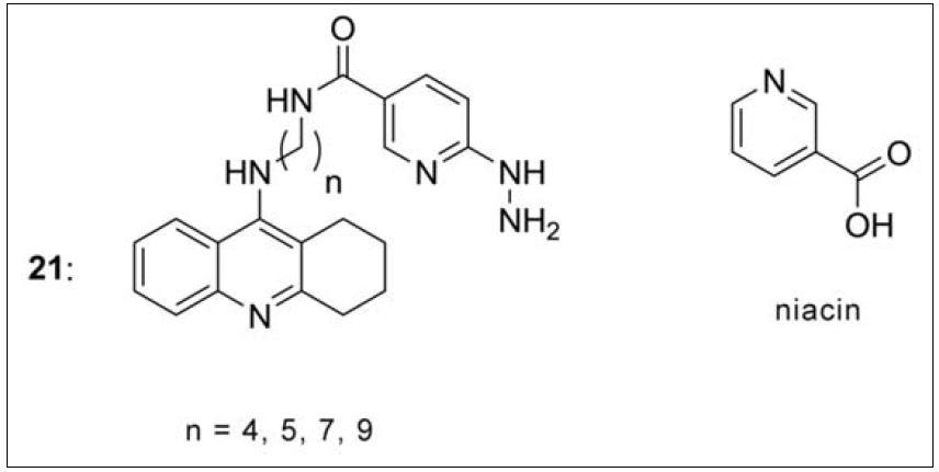 Takrin-niacinové deriváty