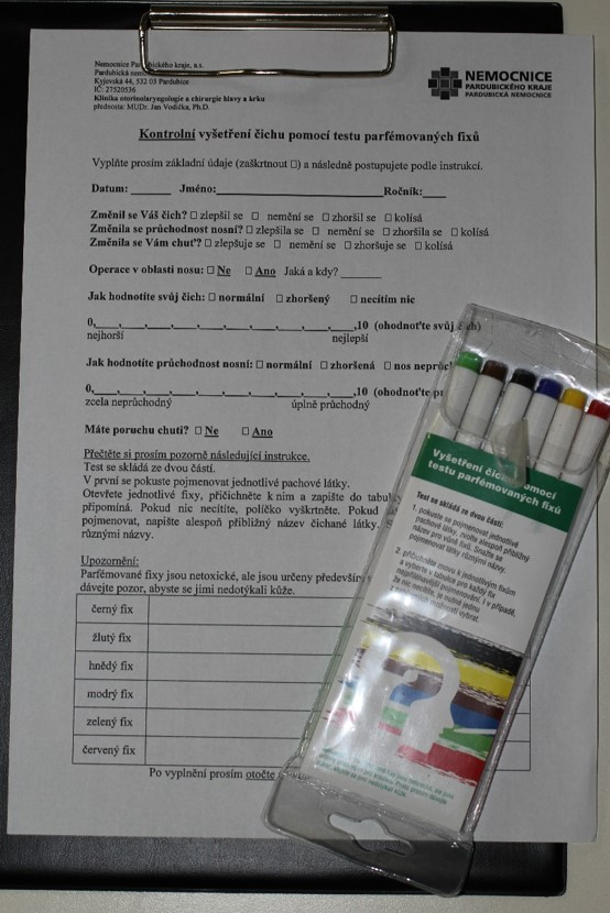 Formulář a fixy k vyšetření čichu pomocí Testu parfémovaných fixů (OMT – Odourized markers test)