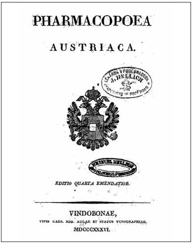 Titulní stránka doplněného čtvrtého vydání rakouského lékopisu z roku 1836
