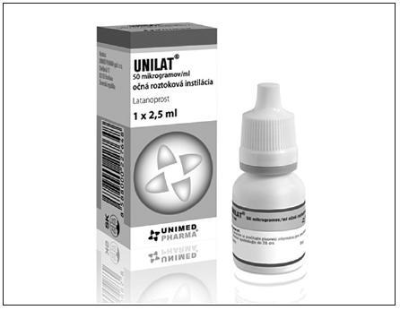 Generický produkt UNILAT (latanoprost 50 μg/ml, očná roztoková instilácia, Unimed Pharma)