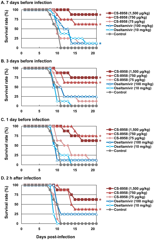 Prophylactic effect of CS-8958 and oseltamivir phosphate against H5N1 influenza viruses in mice.