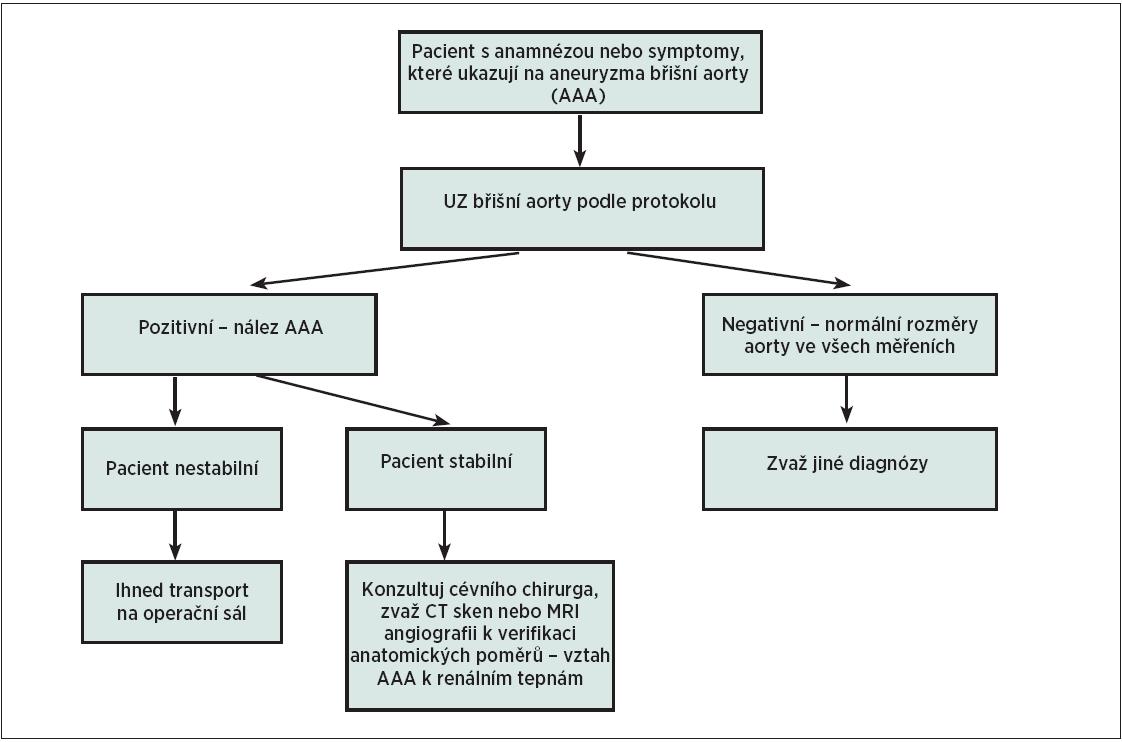 Schéma 1. Algoritmus UZ vyšetření břišní aorty