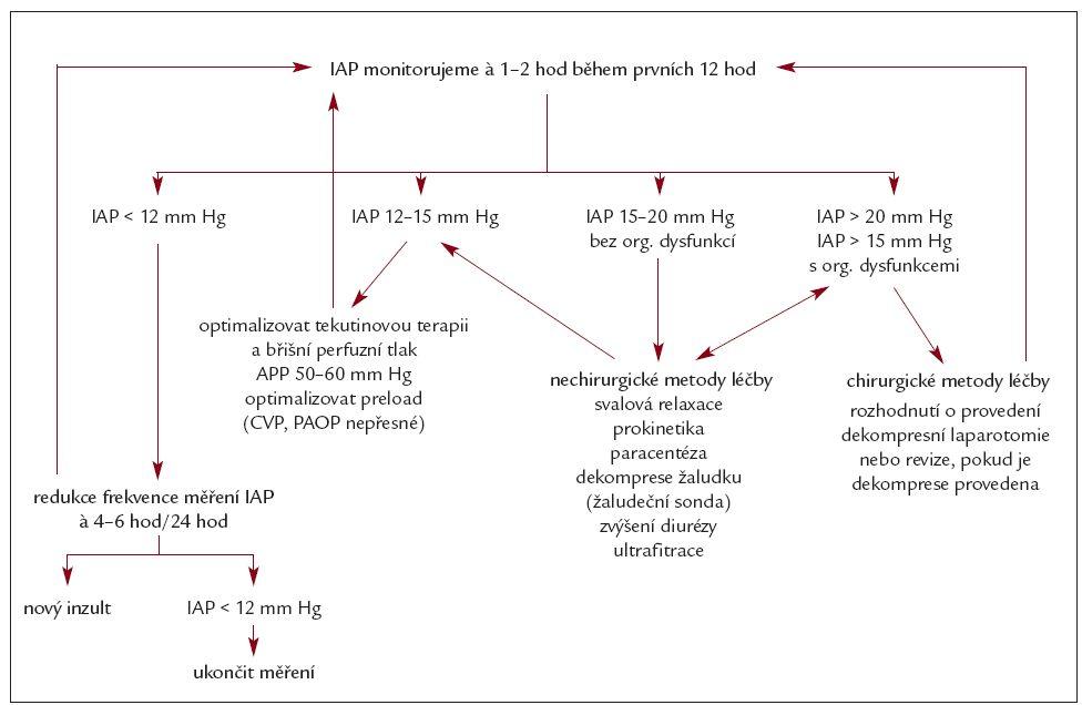 Algoritmus monitorování IAP (dle Kimball E et al. Crit Care Med 2006; 34: 2340–2348.
