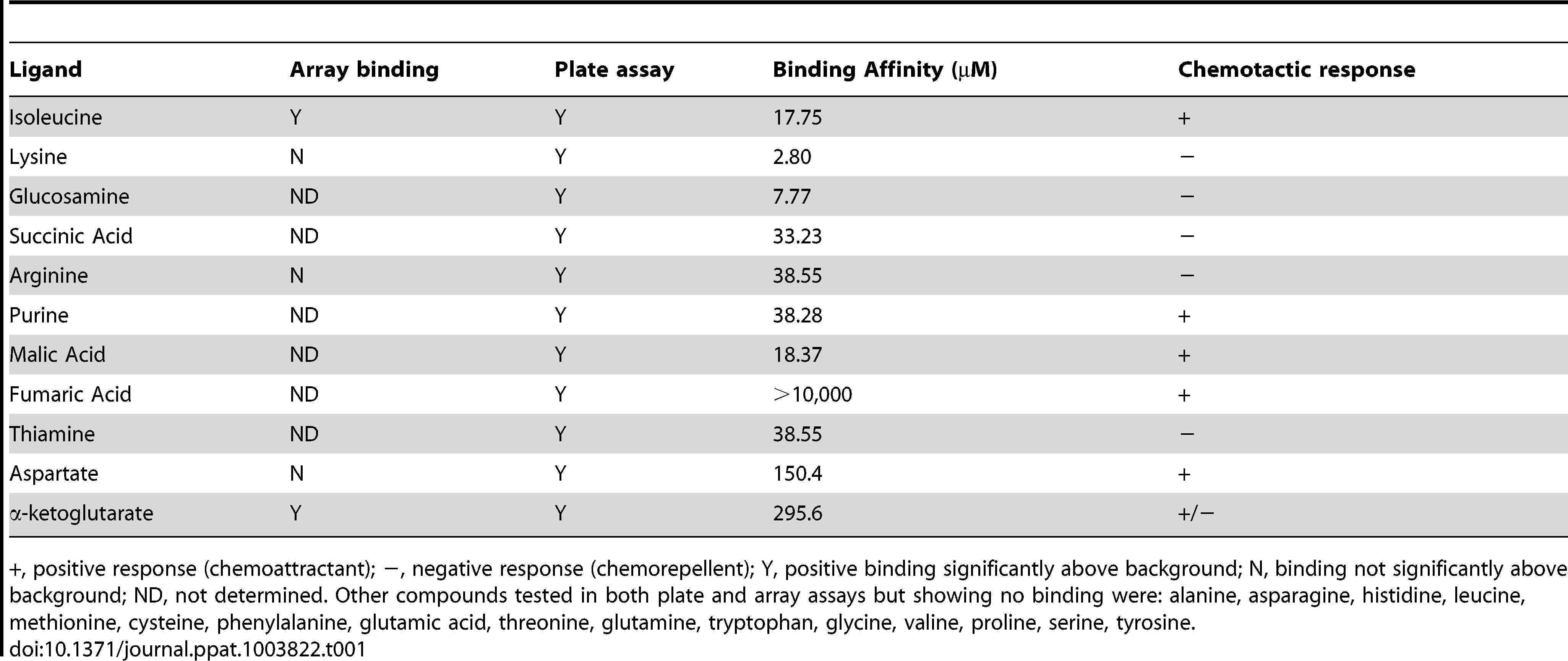 Summary of ligand binding and chemotactic response.