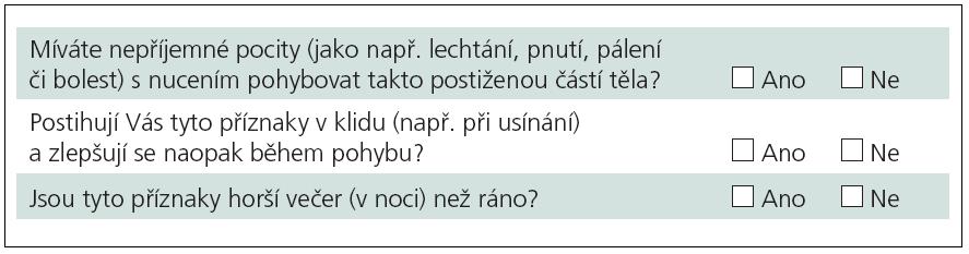Znění otázek dotazníkové sady.