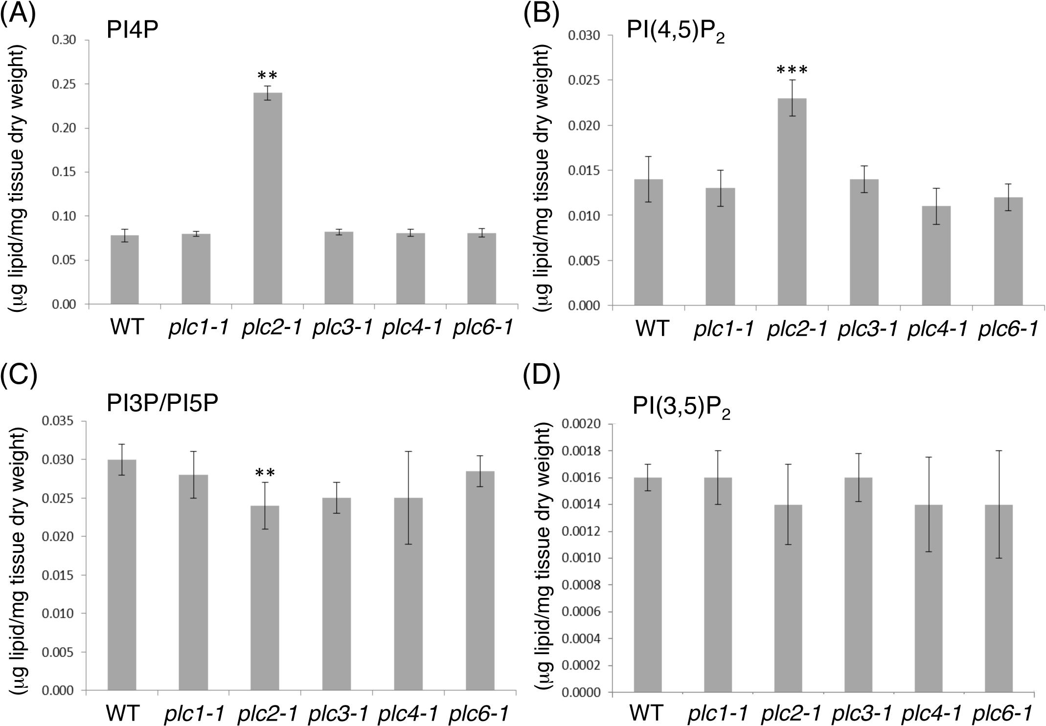 Lipidomic profiling of phosphoinositide levels in 14-day-old seedlings of the <i>plc1-1</i>, <i>plc2-1</i>, <i>plc3-1</i>, <i>plc4-1</i>, <i>plc6-1</i> mutants compared with the wild type (WT).