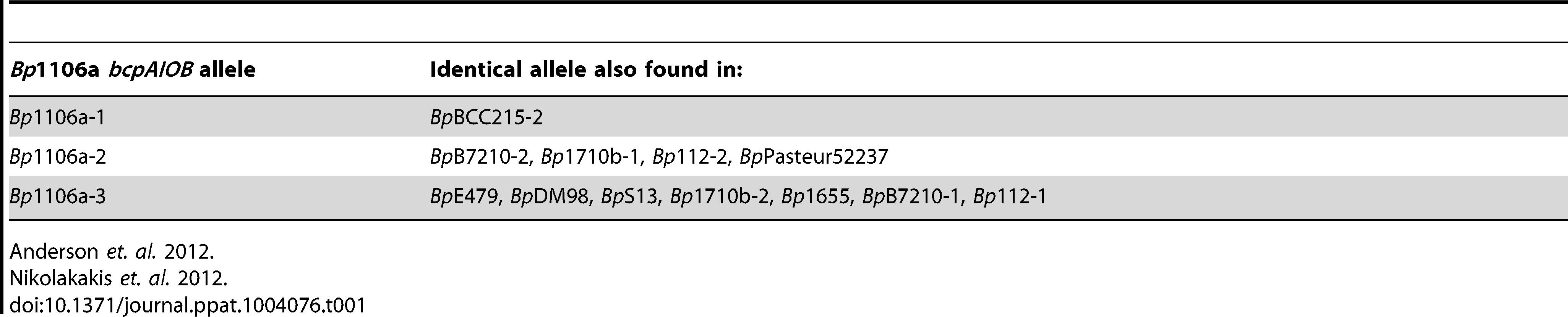 Distribution of <i>bcpAIOB</i> alleles.