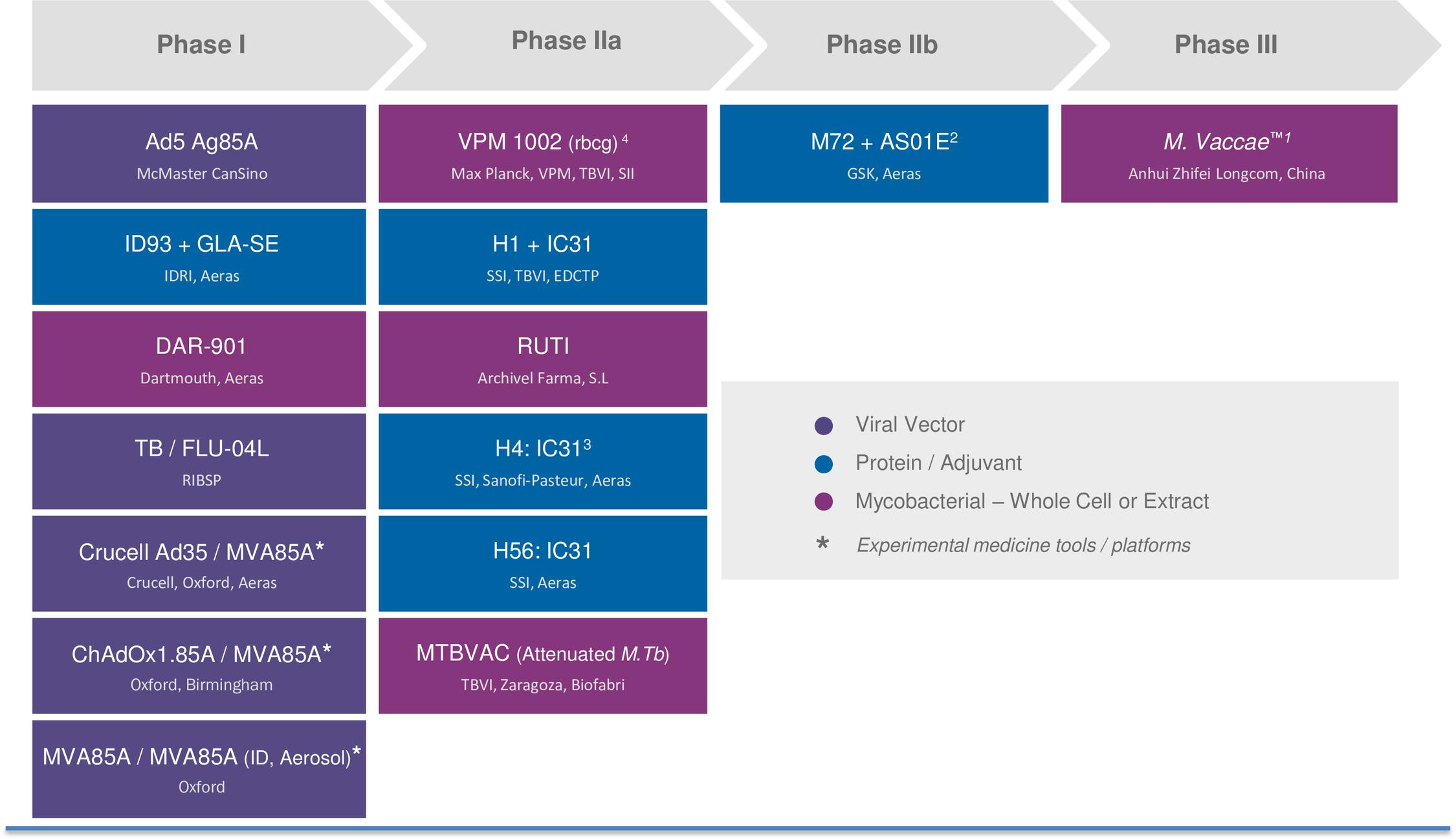 The development pipeline of TB vaccine candidates.