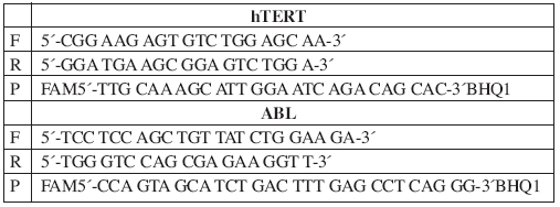 Exprese hTERT: sekvence primerů a hydrolyzačních sond.