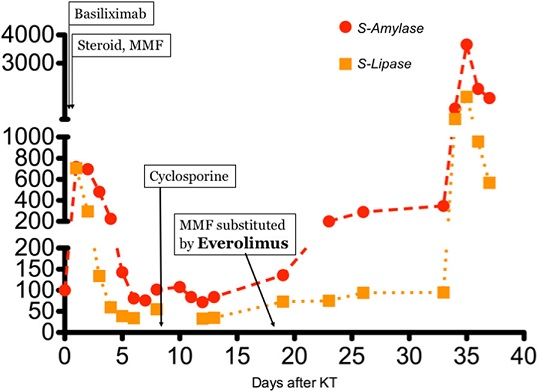 Trends of pancreatic enzymes since KT