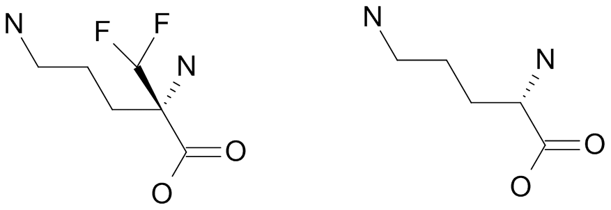 Eflornithine (left) is a derivative of ornithine (right).