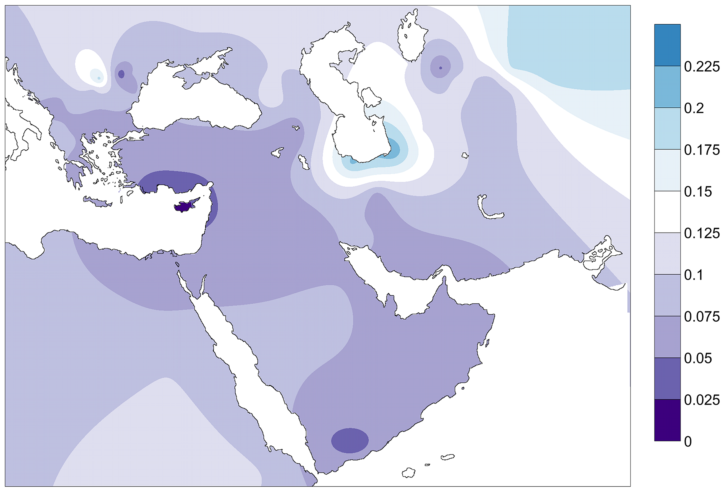Contour map of Fst distances between the PPNB population and modern populations of the database.
