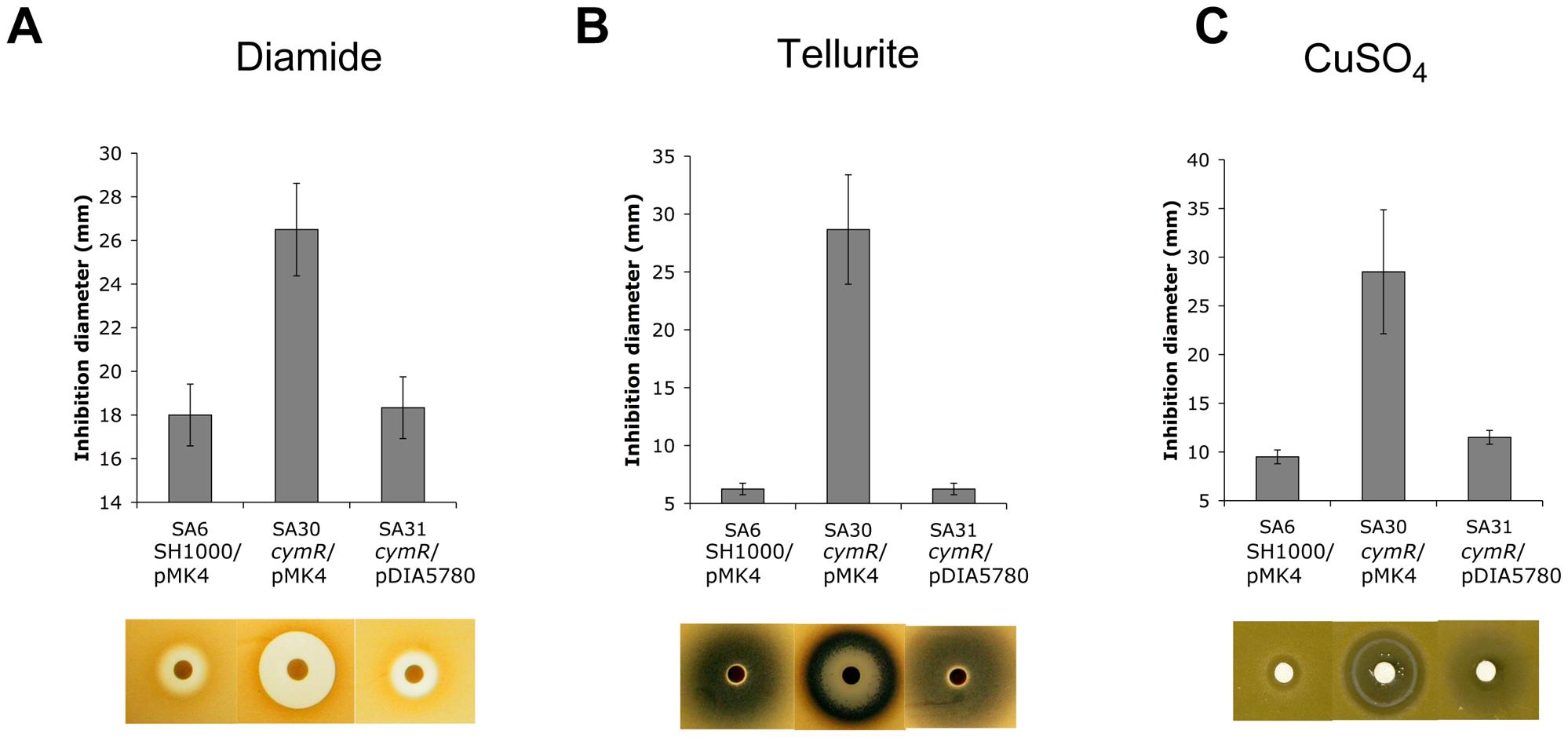 Stress resistance phenotypes of a <i>S. aureus</i> Δ<i>cymR</i> mutant.