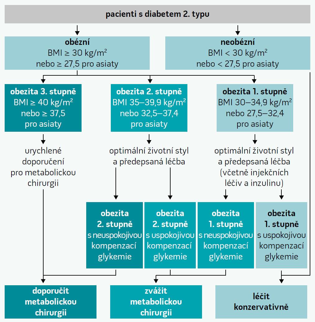 Schéma. Navrhovaný algoritmus využití metabolické chirurgie v léčbě DM2T