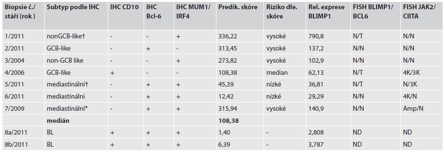 Výsledky relativní exprese, IHC subtypizace a nálezy FISH.