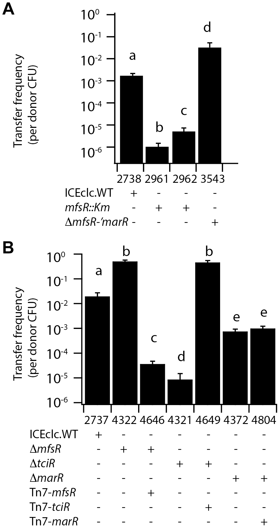 ICE<i>clc</i> transfer frequencies from <i>P. putida</i> UWC1 donors with different ICE<i>clc</i> genotypes.