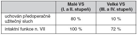 Funkční výsledky mikrochirurgie u vestibulárního schwannomu (Klinika otorinolaryngologie a chirurgie hlavy a krku 1. LF UK a FN v Motole v letech 1997–2008)