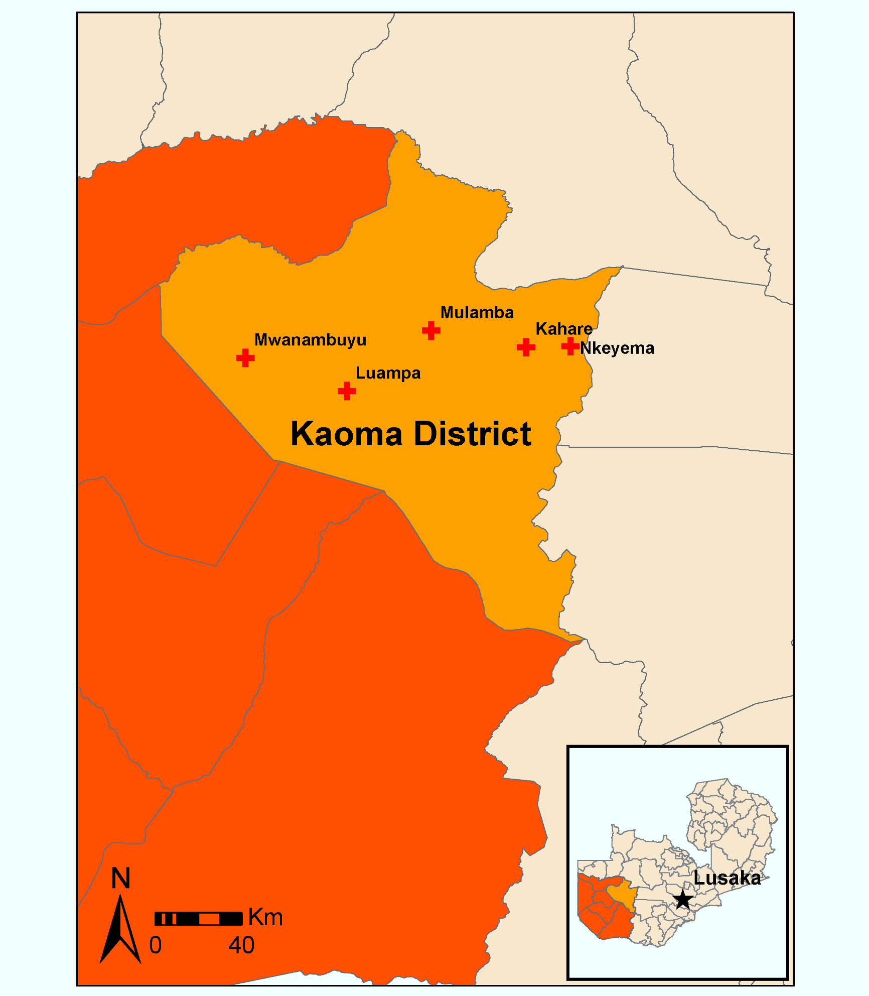 Map of study clinics in Kaoma District, Western Provence, Zambia.