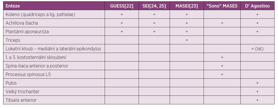 Přehled některých ultrazvukových skórovacích indexů pro entezitidy podle sledovaných entezí.