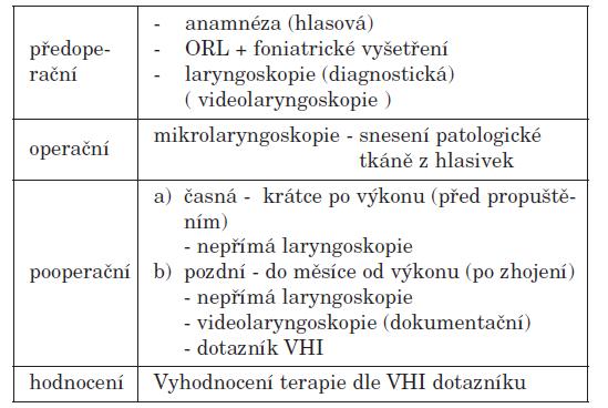 Schematický postup vyšetření a hodnocení.