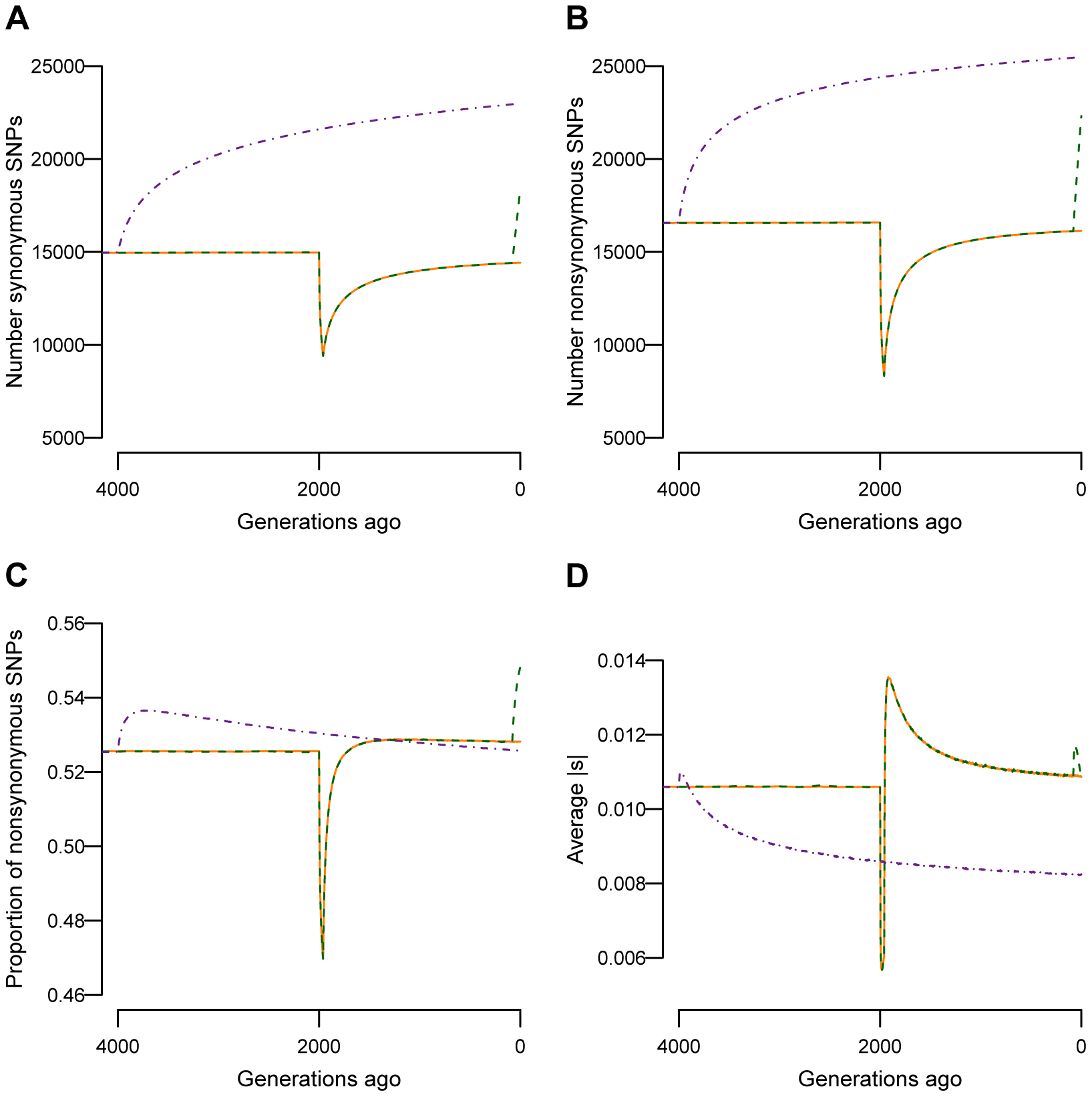 Changes in genetic variation over time as a function of population size.