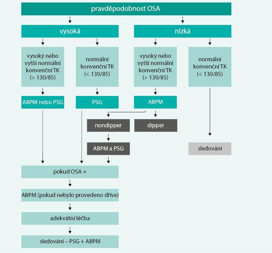 Schéma. Doporučený postup diagnostiky a léčby u pacientů se syndromem OSA [15]