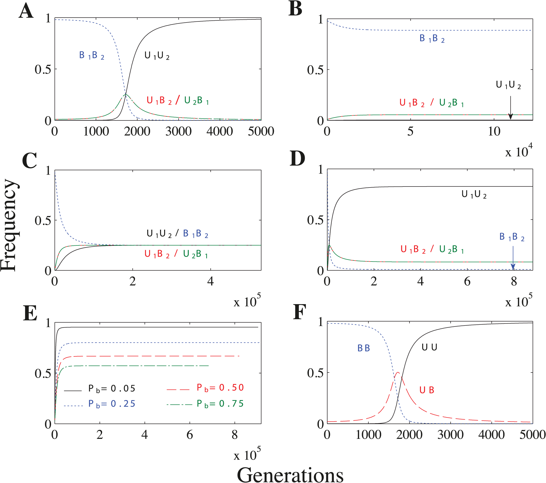 Recombination and no mating types scenarios.