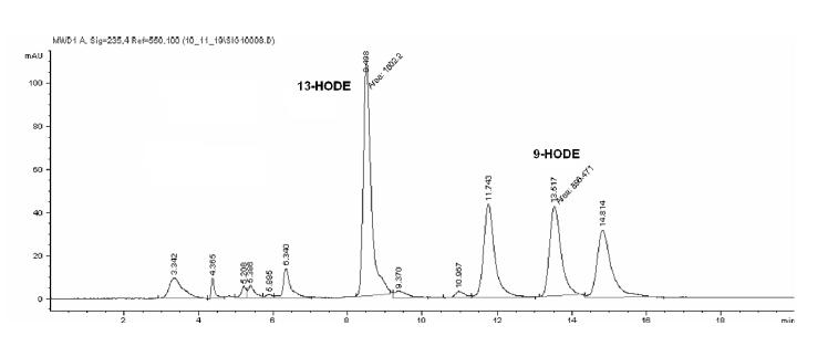 SP-HPLC záznam produktov inkubácie vzorky s kyselinou linolovou