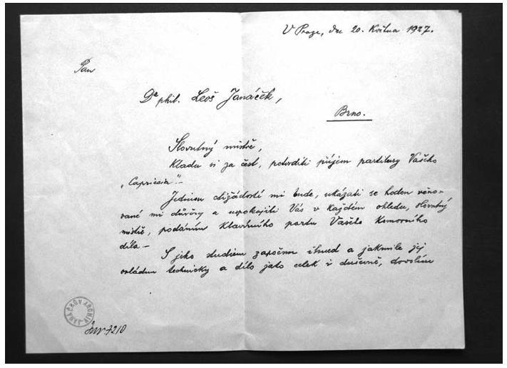Hollmannův dopis, potvrzující převzetí Janáčkovy partitury (1. strana)