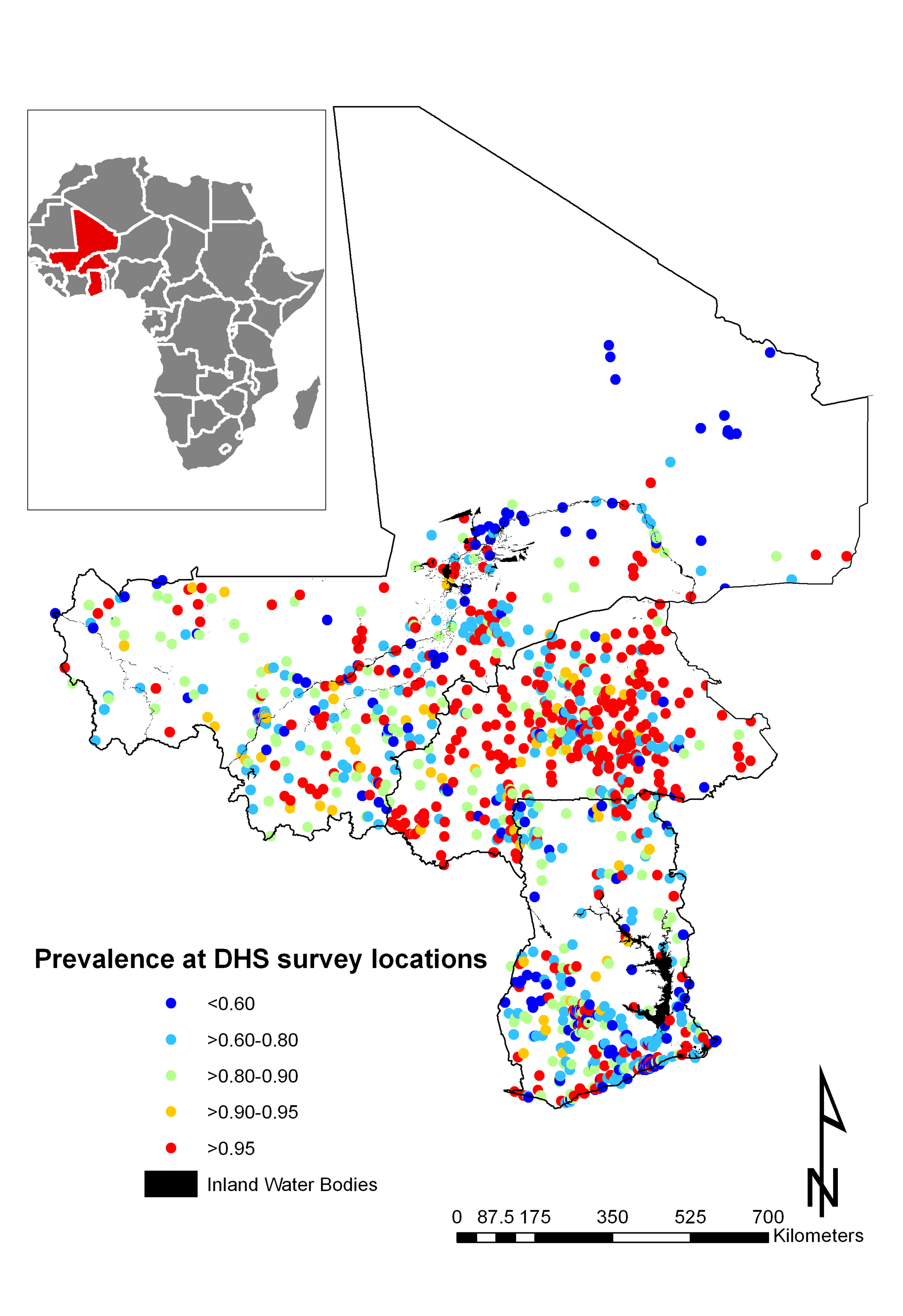 Mean prevalence of anaemia at 1,192 DHS survey sites.