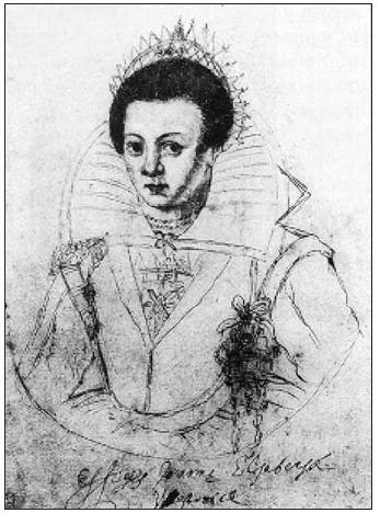 Elizabeth Jane Westonová, nevlastní dcera alchymisty Kelleyho, známá jako básnířka Westonia. Kresba z posledních let jejího života.