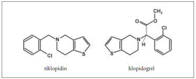 Chemická struktura tiklopidinu a klopidogrelu.
