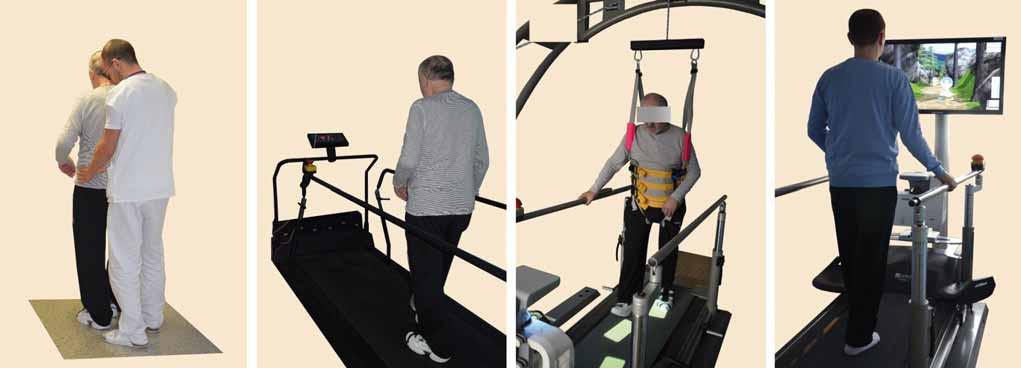 Příklady terapeutických modalit neurorehabilitace chůze. A – chůze vedená terapeutem, B – chůze na chodícím pásu, C – chůze na chodícím pásu s odlehčením tělesné hmotnosti se stimulací krokového cyklu vizuální zpětnou vazbou formou značek na pásu, D – chůze na chodícím pásu ve virtuálním prostředí. Fig. 1. Examples of therapeutic modalities of neurorehabilitation of walking. A – Conventional gait training with therapist assistance, B – Treadmill gait training, C – Body-weight supported treadmill training with visual cueing, D – Treadmill gait training in virtual environment.