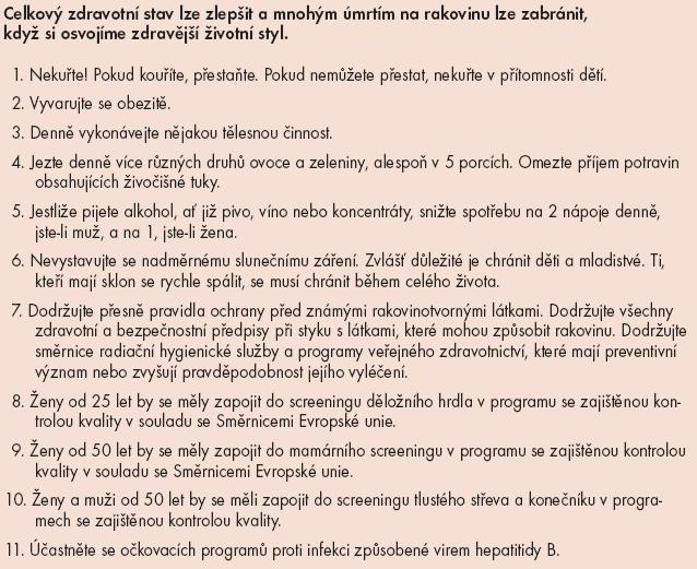 Evropský kodex proti rakovině (European Code Against Cancer – 3. verze).