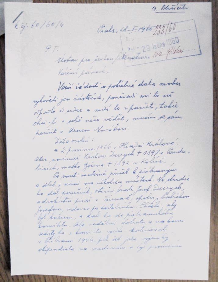 Durychův rukopis v dopise Ústavu pro českou literaturu