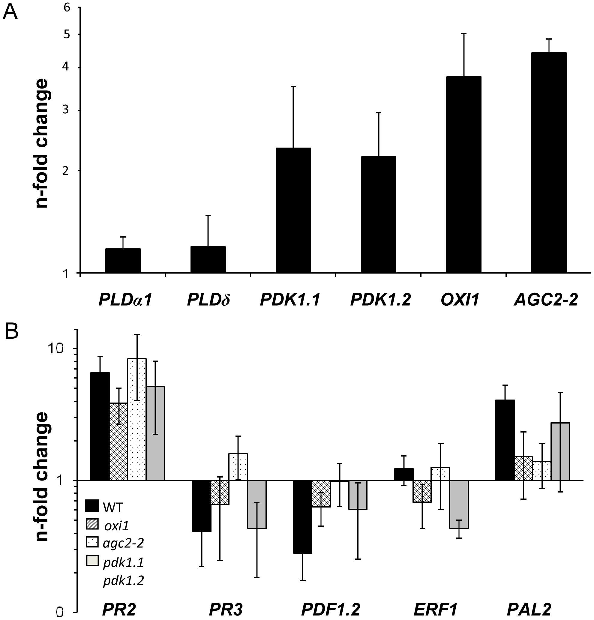 Expression levels of <i>PDK1</i>, <i>OXI1</i> and <i>AGC2-2</i> genes and defense genes in colonized wild-type or mutant roots relative to uncolonized control plants.