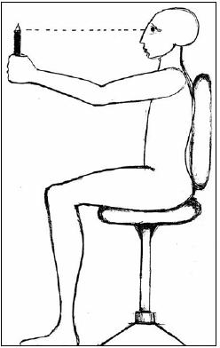 Fig. 4. VOR suppression. The patient is asked to follow a rotating object while the head is maintained in a fixed direction (e.g. the patient stretches the hands forward, holding them together, and maintains the gaze on them while seated in a chair that is rotating).