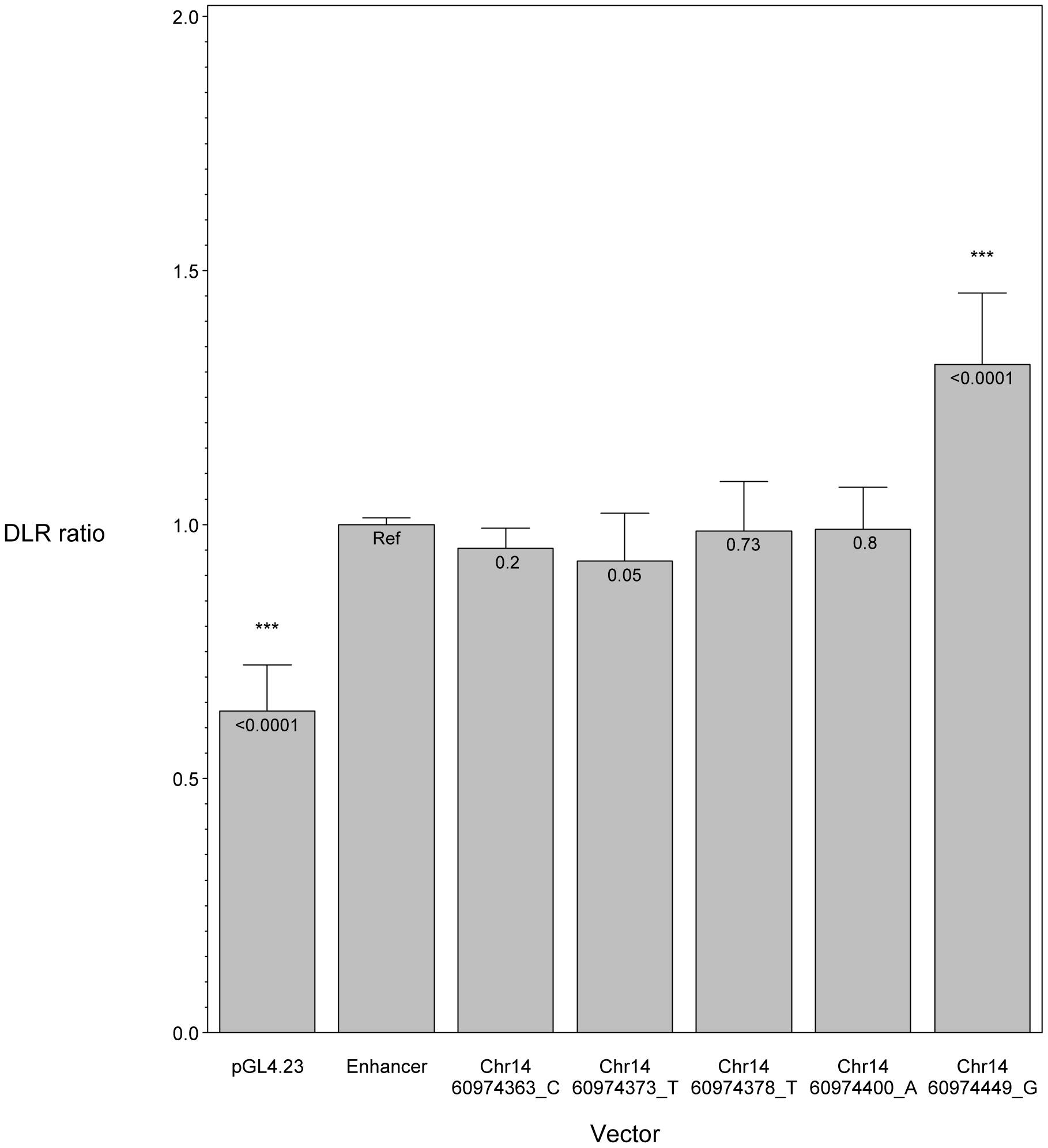 <i>In vitro</i> luciferase assay results showing the effect of <i>SIX6</i> enhancer variants.