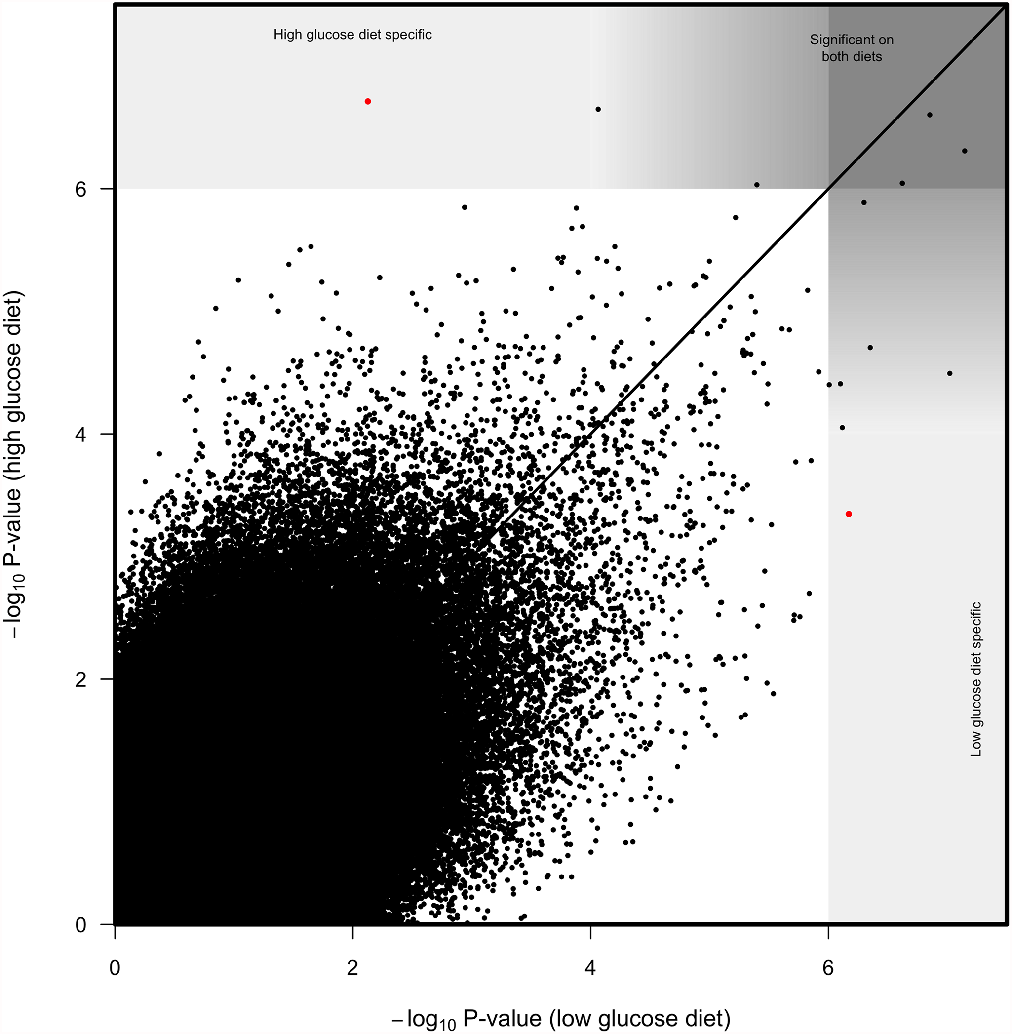 Correlation between SNP log<sub>10</sub> <i>p-</i>values from genome wide associations on high glucose diet and low glucose diet.