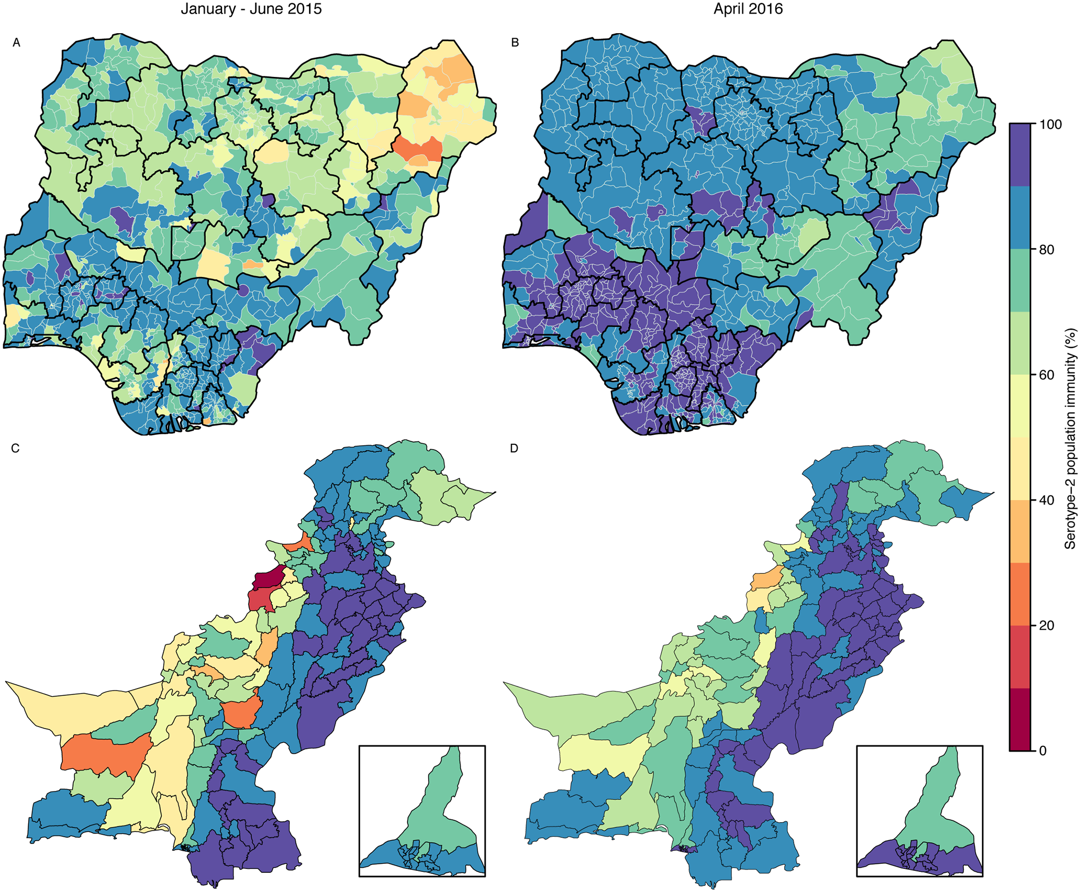 Estimated serotype-2 population immunity in January–June 2015 and projected serotype-2 population immunity in April 2016 in Nigeria and Pakistan.