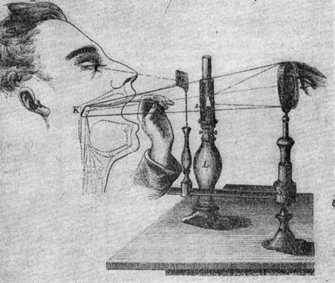 Čermákův přístroj k laryngoskopickému sebepozorování a demonstraci.