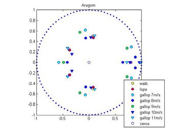 Fig. 6: Map of zeros and poles of the transfer function for horse Aragorn.