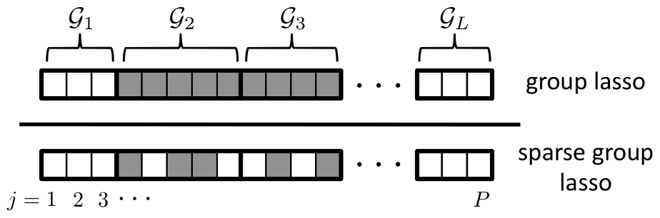 Sparsity patterns enforced by the group lasso and sparse group lasso.