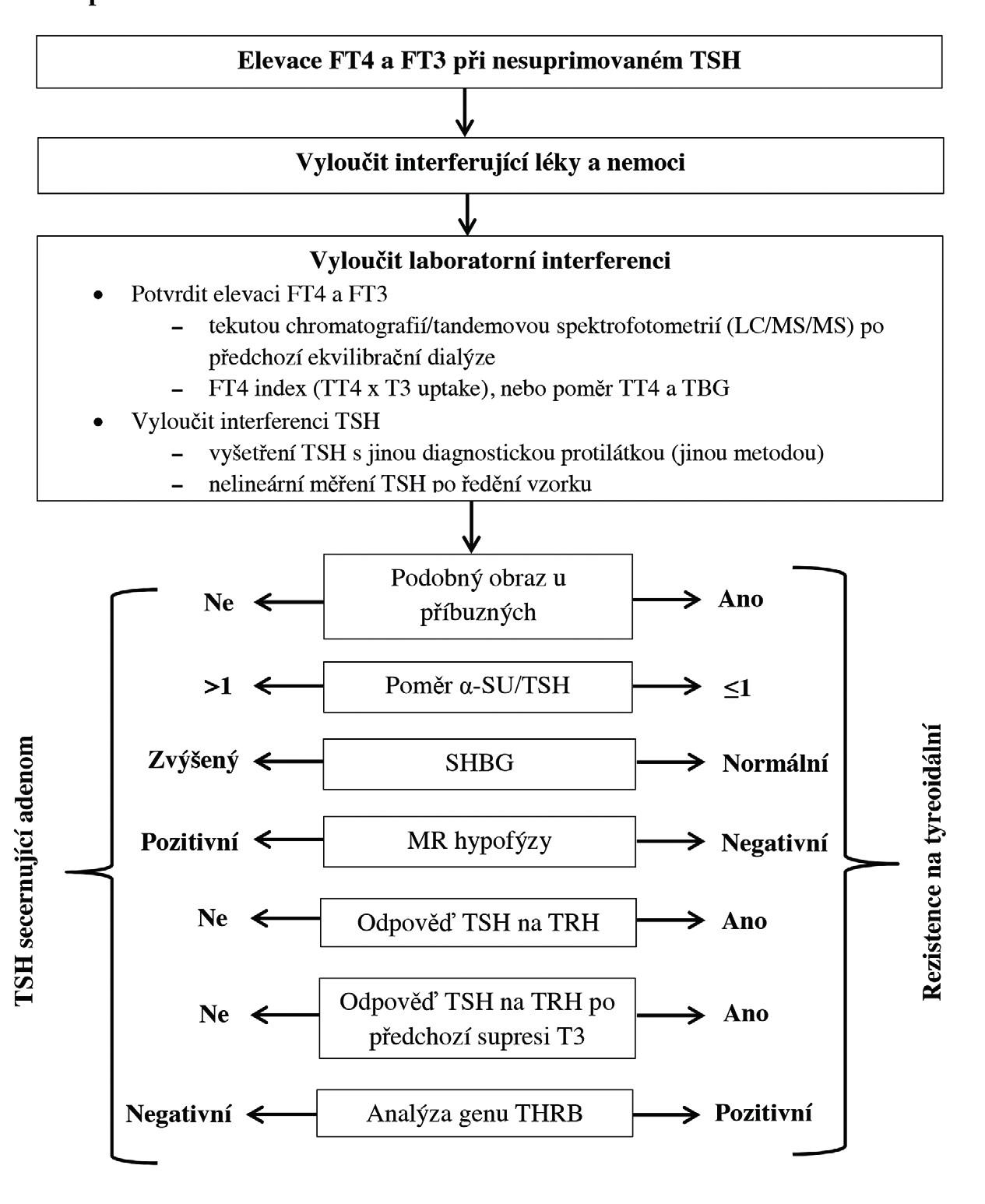 Diagnostický postup při nálezu elevace tyreoidálních hormonů při nesuprimovaném TSH (upraveno podle 3) TSH – tyreoidální stimulační hormon, FT4 – volný tyroxin, FT3 – volný trijodtyronin, TT4 – celkový tyroxin, T3 – trijodtyronin, TBG – tyroxin vázající globulin, α-SU – alfa podjednotka TSH a gonadotropinů, SHGB – pohlavní hormony vázající globulin, MR – magnetická rezonance, TRH – tyreoliberin, THRB – gen pro beta tyreoidální receptor