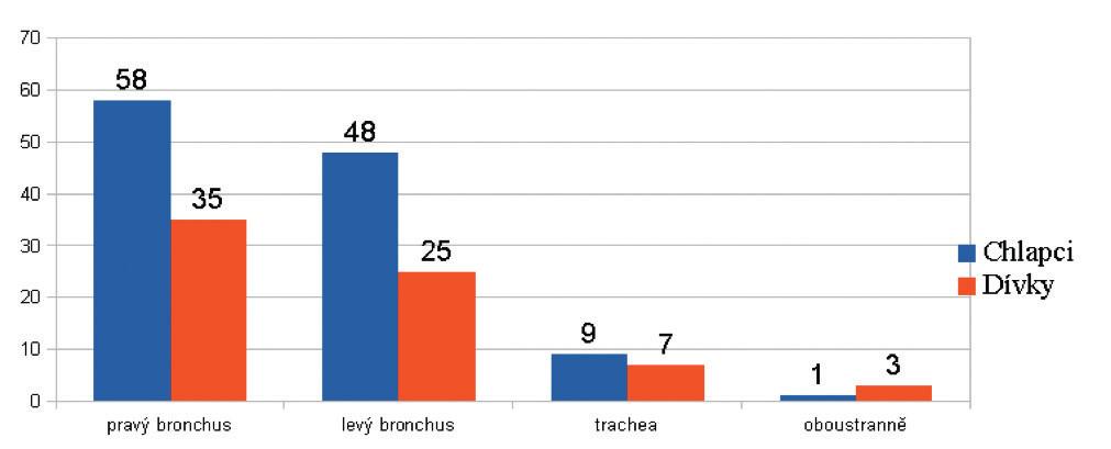 Počet extrahovaných CT a místo extrakce.